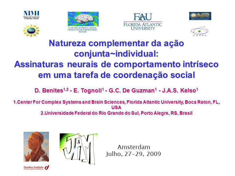 Natureza complementar da ação conjunta~individual: Assinaturas neurais de comportamento intríseco em uma tarefa de coordenação social D. Benites 1,2 -