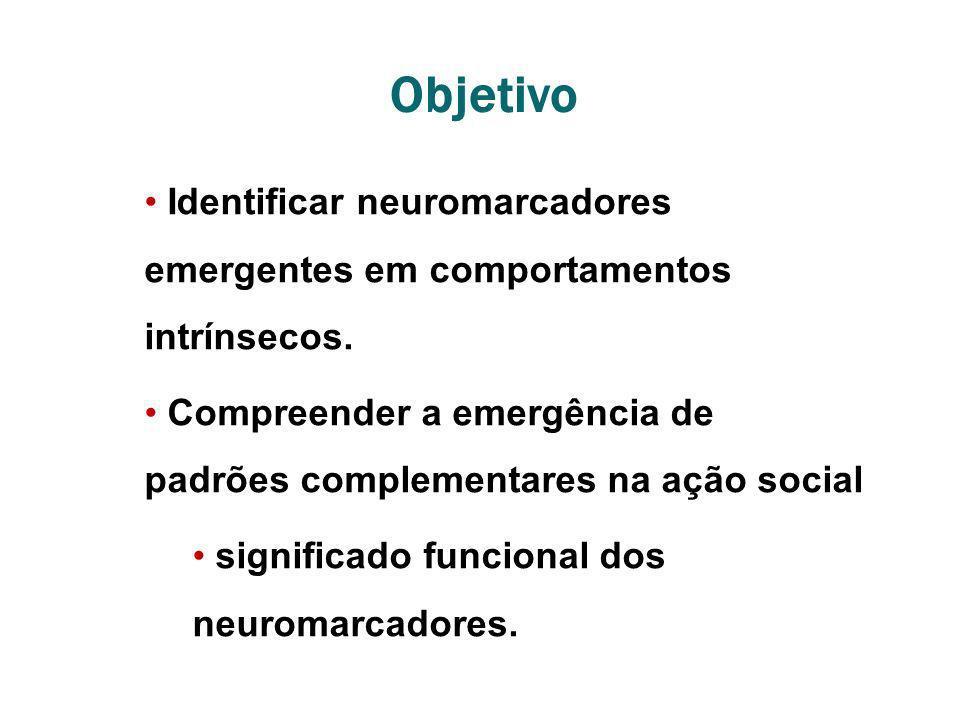 Objetivo Identificar neuromarcadores emergentes em comportamentos intrínsecos. Compreender a emergência de padrões complementares na ação social signi