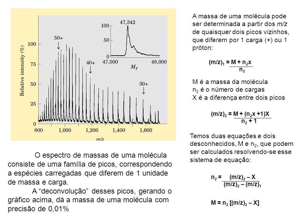 O espectro de massas de uma molécula consiste de uma família de picos, correspondendo a espécies carregadas que diferem de 1 unidade de massa e carga.