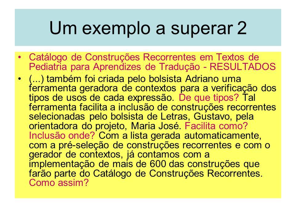 Um exemplo a superar 2 Catálogo de Construções Recorrentes em Textos de Pediatria para Aprendizes de Tradução - RESULTADOS (...) também foi criada pel
