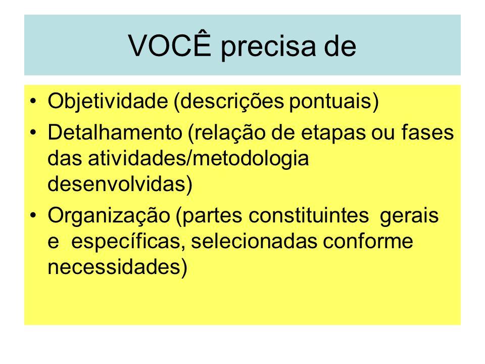 VOCÊ precisa de Objetividade (descrições pontuais) Detalhamento (relação de etapas ou fases das atividades/metodologia desenvolvidas) Organização (par