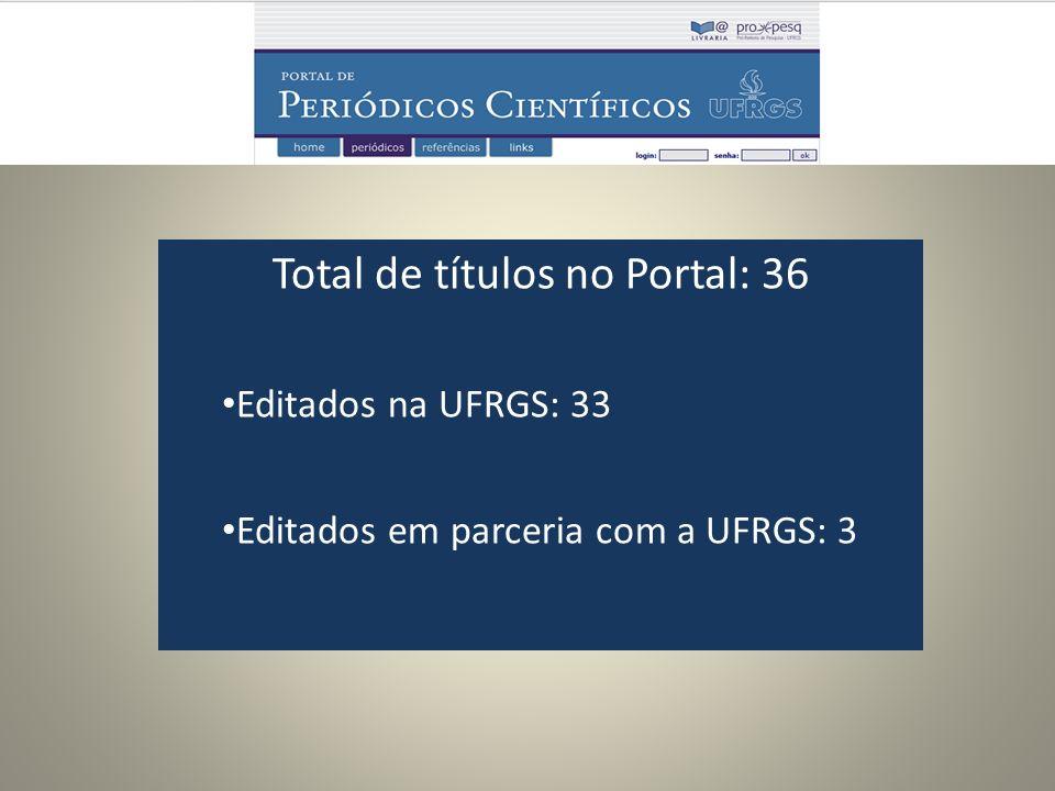 Total de títulos no Portal: 36 Editados na UFRGS: 33 Editados em parceria com a UFRGS: 3