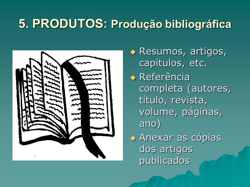 5. PRODUTOS: Produção bibliográfica Resumos, artigos, capítulos, etc. Resumos, artigos, capítulos, etc. Referência completa (autores, título, revista,