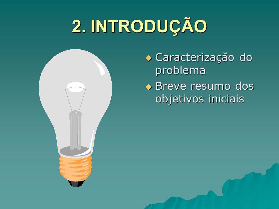 2. INTRODUÇÃO Caracterização do problema Caracterização do problema Breve resumo dos objetivos iniciais Breve resumo dos objetivos iniciais