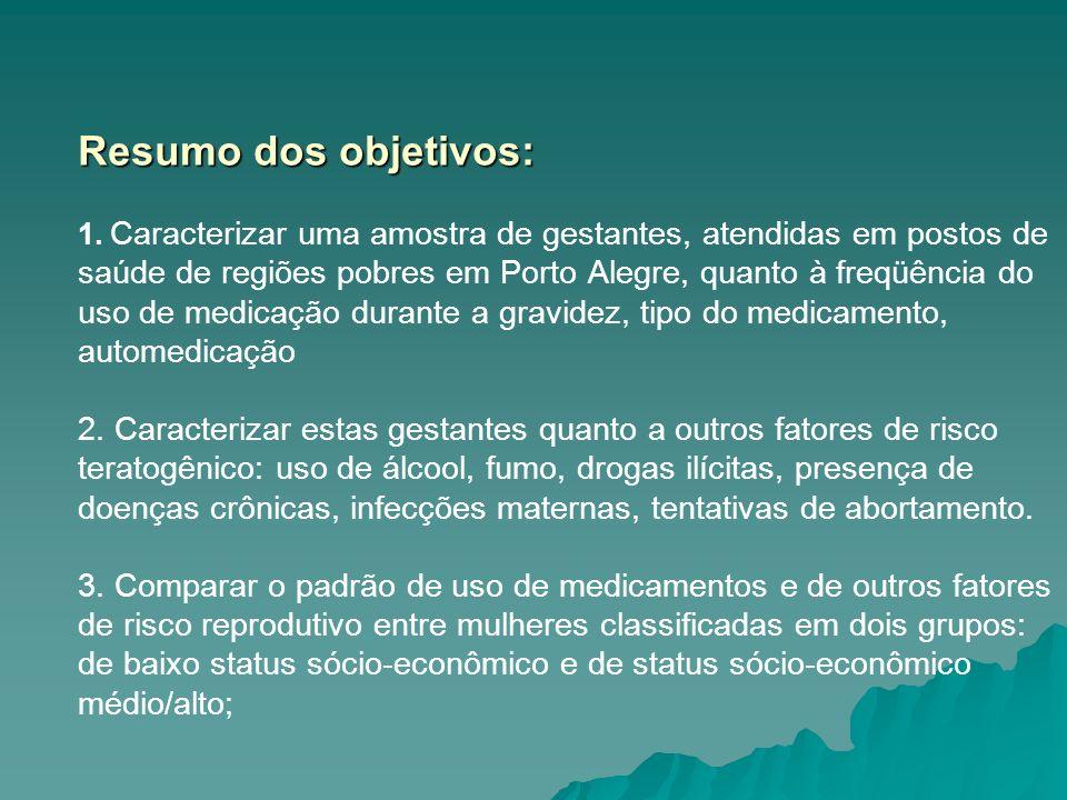 Resumo dos objetivos: Resumo dos objetivos: 1. Caracterizar uma amostra de gestantes, atendidas em postos de saúde de regiões pobres em Porto Alegre,