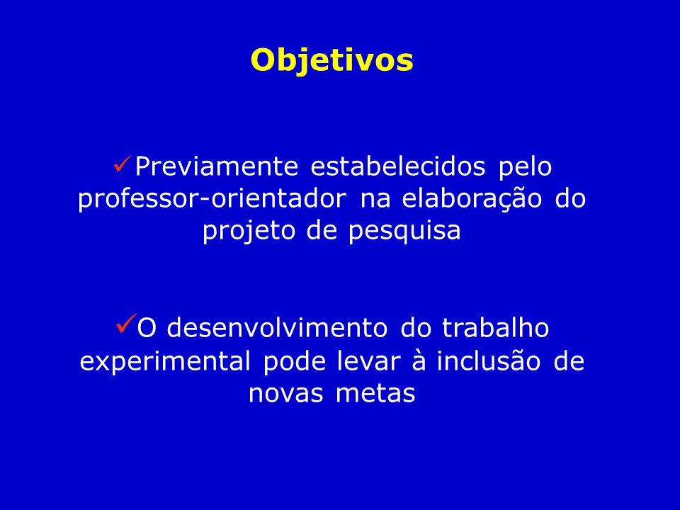 Objetivos Previamente estabelecidos pelo professor-orientador na elaboração do projeto de pesquisa O desenvolvimento do trabalho experimental pode lev