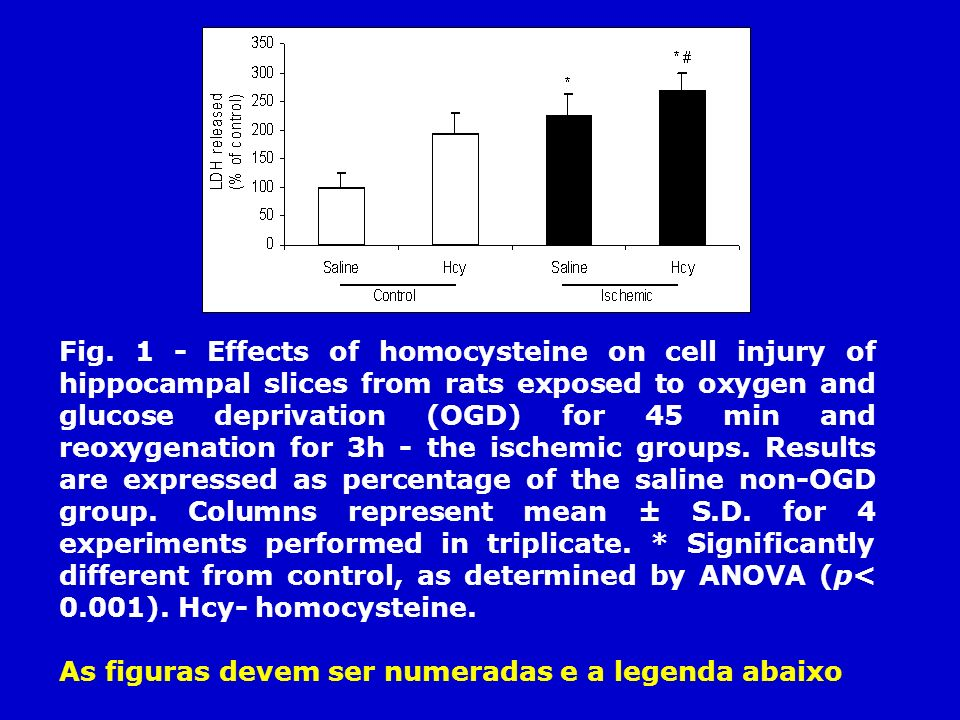 Fig. 1 - Effects of homocysteine on cell injury of hippocampal slices from rats exposed to oxygen and glucose deprivation (OGD) for 45 min and reoxyge