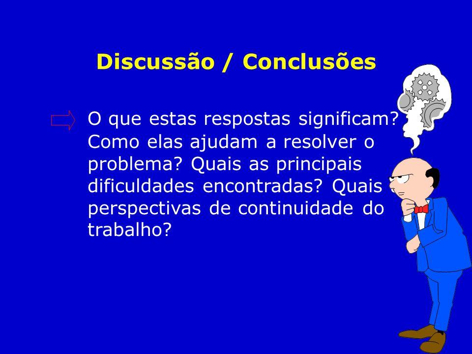 Discussão / Conclusões O que estas respostas significam? Como elas ajudam a resolver o problema? Quais as principais dificuldades encontradas? Quais a