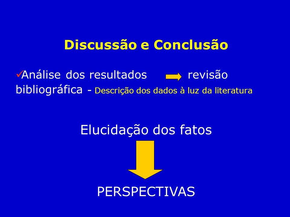 Discussão e Conclusão Análise dos resultados revisão bibliográfica - Descrição dos dados à luz da literatura Elucidação dos fatos PERSPECTIVAS