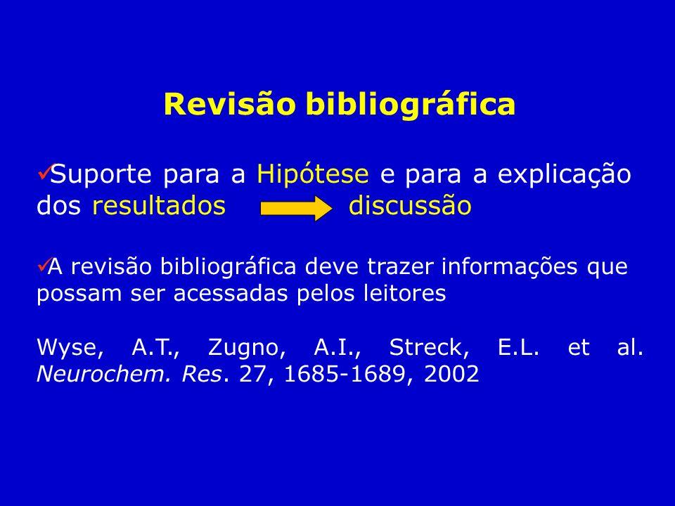 Revisão bibliográfica Suporte para a Hipótese e para a explicação dos resultados discussão A revisão bibliográfica deve trazer informações que possam
