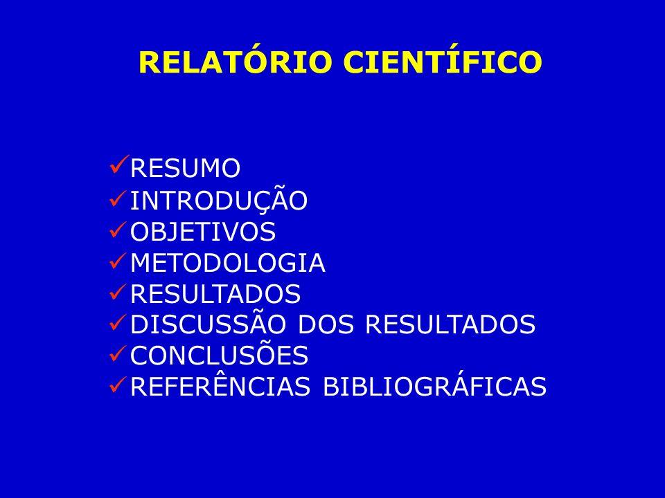 RESUMO INTRODUÇÃO OBJETIVOS METODOLOGIA RESULTADOS DISCUSSÃO DOS RESULTADOS CONCLUSÕES REFERÊNCIAS BIBLIOGRÁFICAS RELATÓRIO CIENTÍFICO