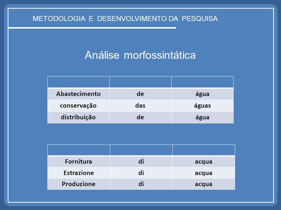 METODOLOGIA E DESENVOLVIMENTO DA PESQUISA Análise morfossintática Abastecimentodeágua conservaçãodaságuas distribuiçãodeágua Fornituradiacqua Estrazio