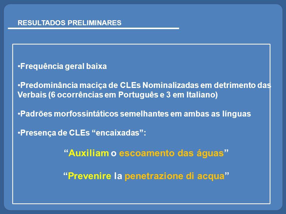 RESULTADOS PRELIMINARES Frequência geral baixa Predominância maciça de CLEs Nominalizadas em detrimento das Verbais (6 ocorrências em Português e 3 em