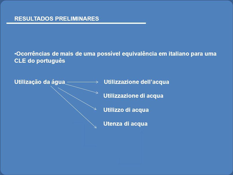 RESULTADOS PRELIMINARES Ocorrências de mais de uma possível equivalência em italiano para uma CLE do português Utilização da água Utilizzazione dellac
