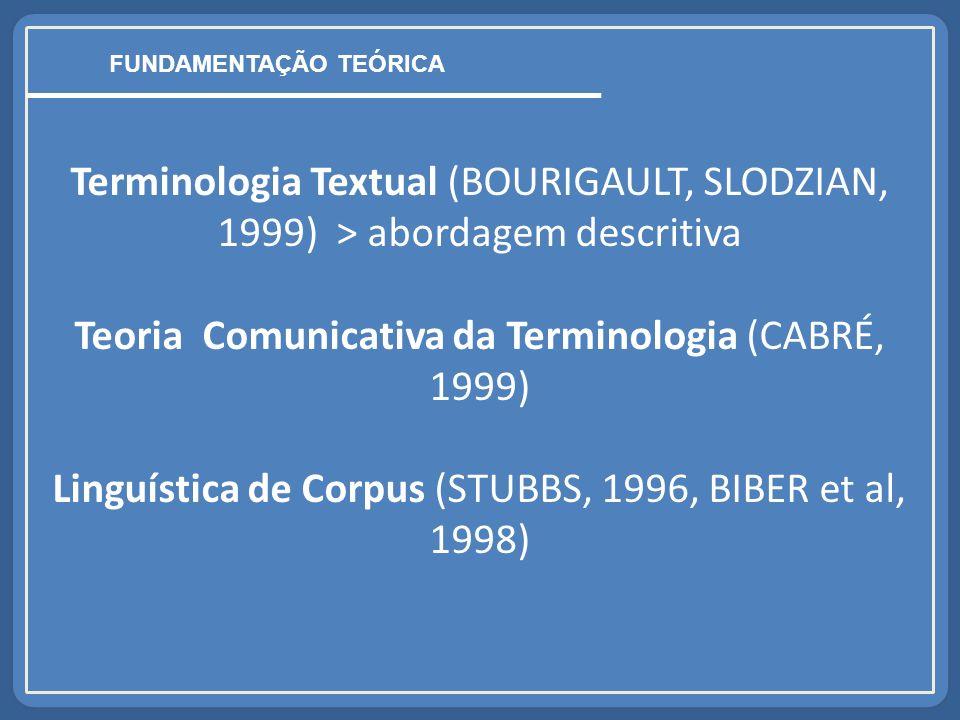 Terminologia Textual (BOURIGAULT, SLODZIAN, 1999) > abordagem descritiva Teoria Comunicativa da Terminologia (CABRÉ, 1999) Linguística de Corpus (STUBBS, 1996, BIBER et al, 1998) FUNDAMENTAÇÃO TEÓRICA