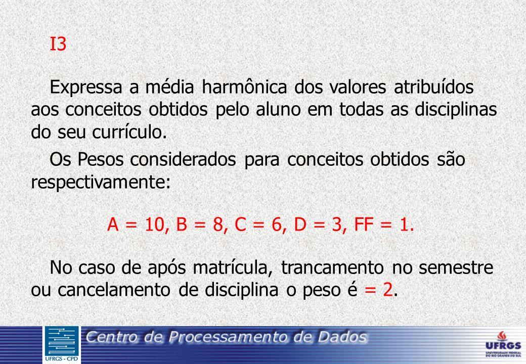 I3 Expressa a média harmônica dos valores atribuídos aos conceitos obtidos pelo aluno em todas as disciplinas do seu currículo.