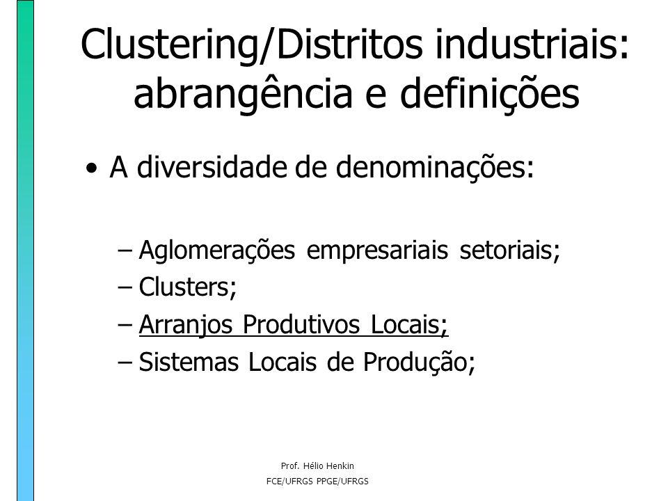 Prof. Hélio Henkin FCE/UFRGS PPGE/UFRGS Clustering/Distritos industriais: abrangência e definições A diversidade de denominações: –Aglomerações empres