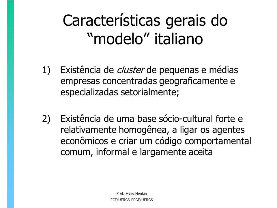 Prof. Hélio Henkin FCE/UFRGS PPGE/UFRGS Características gerais do modelo italiano 1)Existência de cluster de pequenas e médias empresas concentradas g