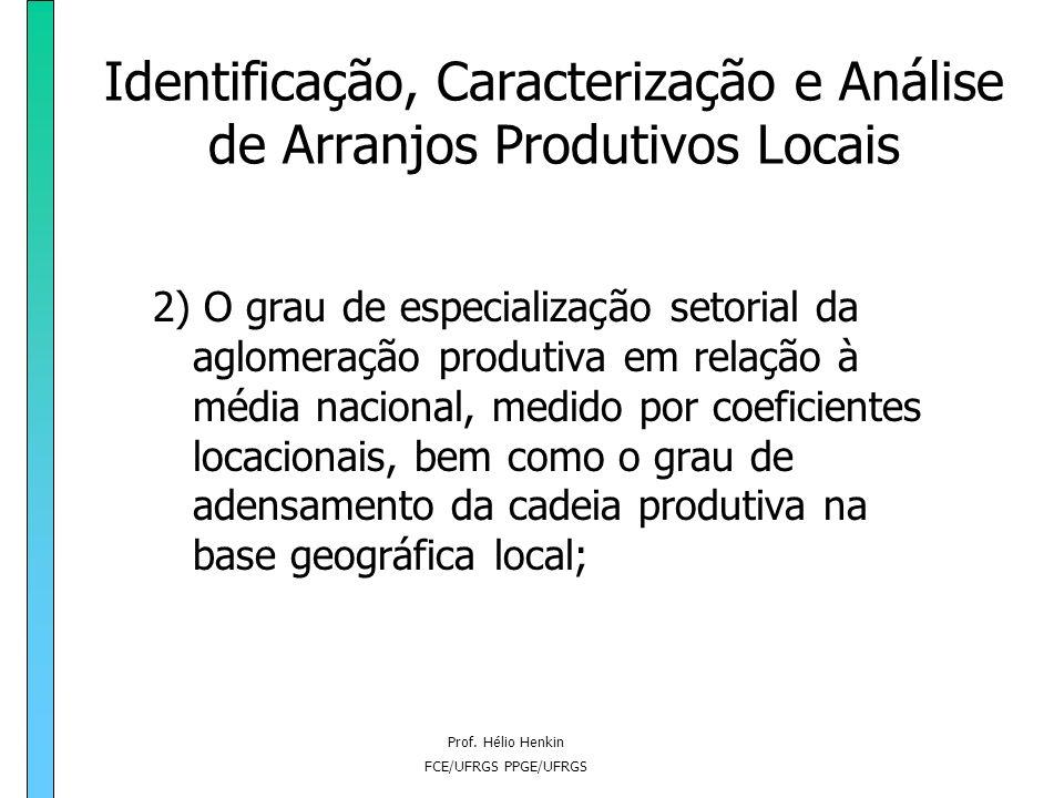 Prof. Hélio Henkin FCE/UFRGS PPGE/UFRGS Identificação, Caracterização e Análise de Arranjos Produtivos Locais 2) O grau de especialização setorial da