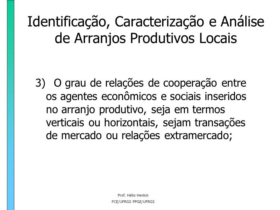 Prof. Hélio Henkin FCE/UFRGS PPGE/UFRGS Identificação, Caracterização e Análise de Arranjos Produtivos Locais 3) O grau de relações de cooperação entr