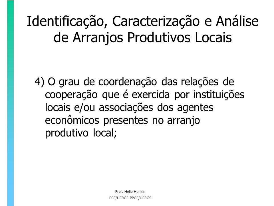 Prof. Hélio Henkin FCE/UFRGS PPGE/UFRGS Identificação, Caracterização e Análise de Arranjos Produtivos Locais 4) O grau de coordenação das relações de