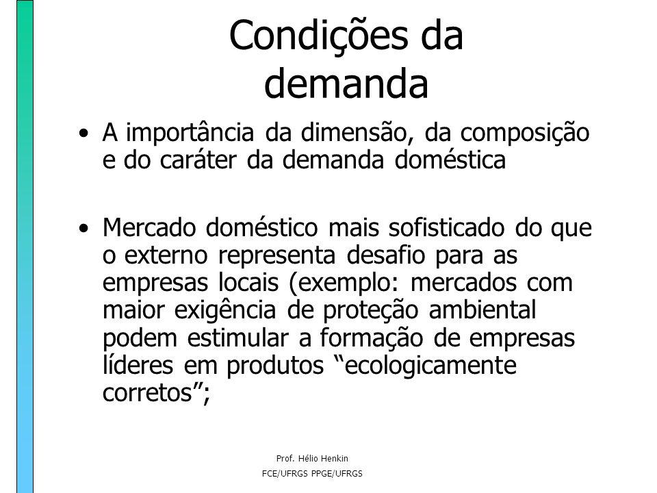 Prof. Hélio Henkin FCE/UFRGS PPGE/UFRGS Condições da demanda A importância da dimensão, da composição e do caráter da demanda doméstica Mercado domést