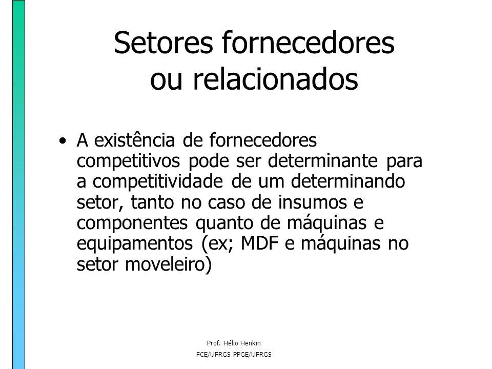 Prof. Hélio Henkin FCE/UFRGS PPGE/UFRGS Setores fornecedores ou relacionados A existência de fornecedores competitivos pode ser determinante para a co