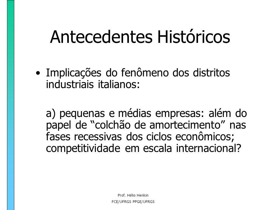 Prof. Hélio Henkin FCE/UFRGS PPGE/UFRGS Antecedentes Históricos Implicações do fenômeno dos distritos industriais italianos: a) pequenas e médias empr