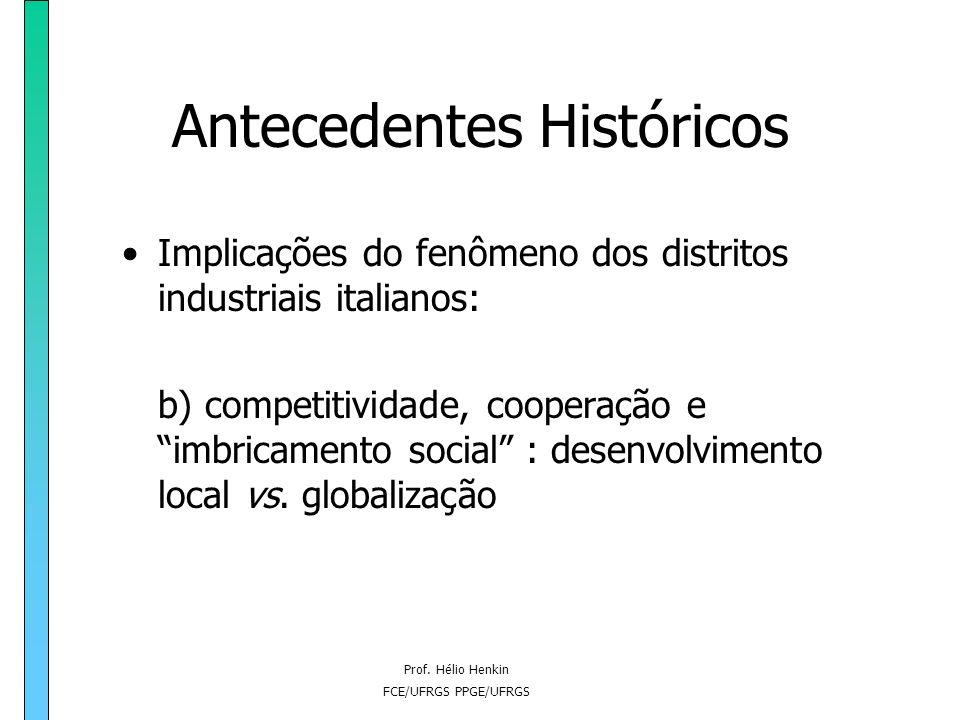 Prof. Hélio Henkin FCE/UFRGS PPGE/UFRGS Antecedentes Históricos Implicações do fenômeno dos distritos industriais italianos: b) competitividade, coope