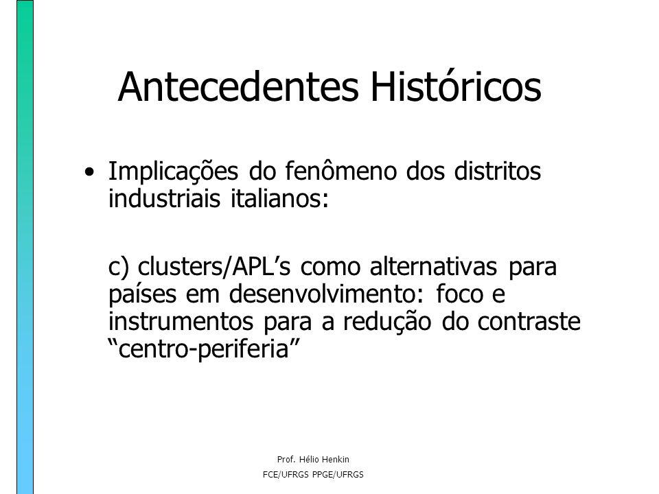 Prof. Hélio Henkin FCE/UFRGS PPGE/UFRGS Antecedentes Históricos Implicações do fenômeno dos distritos industriais italianos: c) clusters/APLs como alt