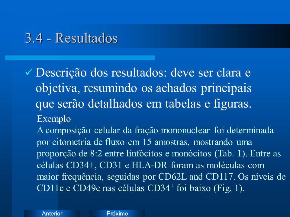 PróximoAnterior 3.4 - Resultados Descrição dos resultados: deve ser clara e objetiva, resumindo os achados principais que serão detalhados em tabelas