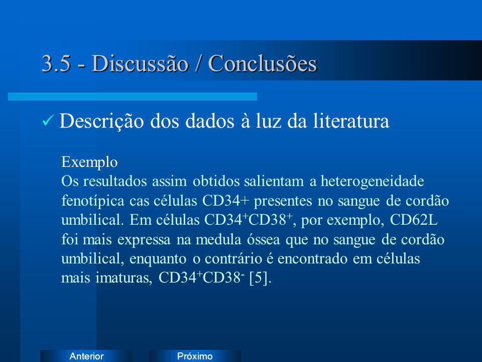 PróximoAnterior 3.5 - Discussão / Conclusões Descrição dos dados à luz da literatura Exemplo Os resultados assim obtidos salientam a heterogeneidade f