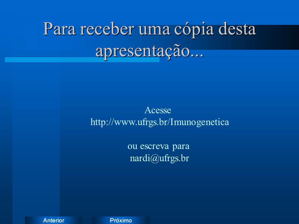 PróximoAnterior Para receber uma cópia desta apresentação... Acesse http://www.ufrgs.br/Imunogenetica ou escreva para nardi@ufrgs.br