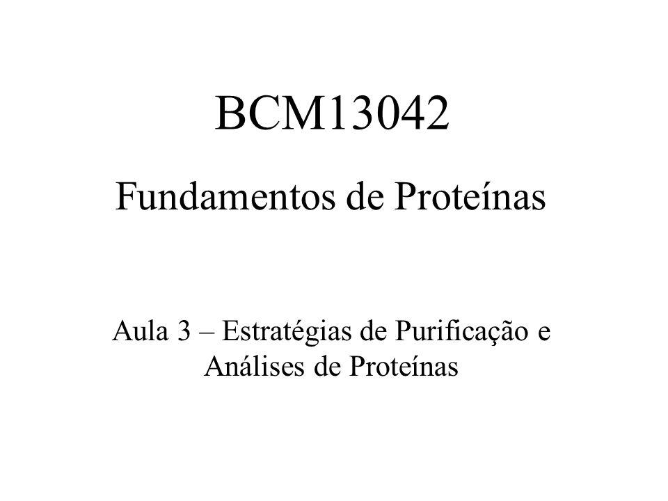 Fundamentos de Proteínas Aula 3 – Estratégias de Purificação e Análises de Proteínas BCM13042