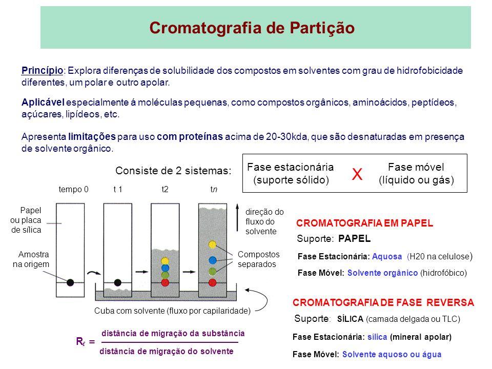 Papel ou placa de sílica Amostra na origem tempo 0 t 1 t2 tn direção do fluxo do solvente Compostos separados Cuba com solvente (fluxo por capilaridad