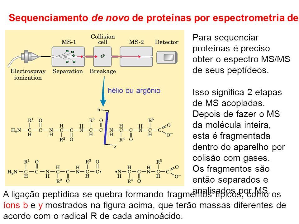 Sequenciamento de novo de proteínas por espectrometria de massas Para sequenciar proteínas é preciso obter o espectro MS/MS de seus peptídeos. Isso si