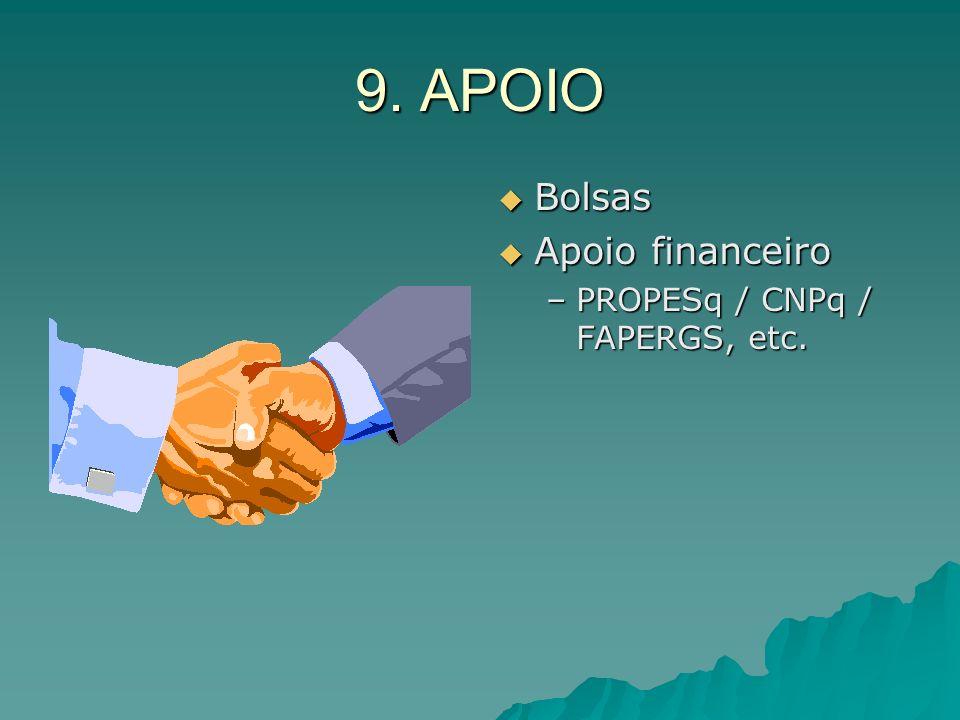 9. APOIO Bolsas Bolsas Apoio financeiro Apoio financeiro –PROPESq / CNPq / FAPERGS, etc.