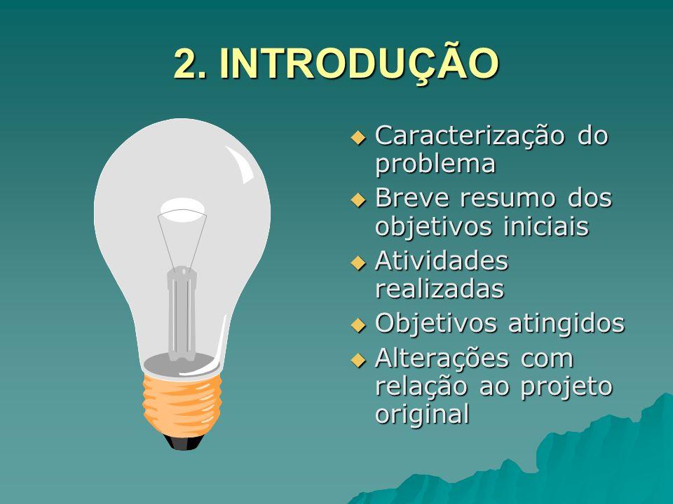 2. INTRODUÇÃO Caracterização do problema Caracterização do problema Breve resumo dos objetivos iniciais Breve resumo dos objetivos iniciais Atividades