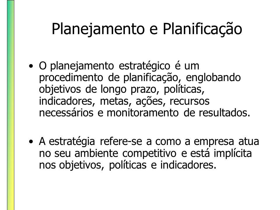 O planejamento estratégico é um procedimento de planificação, englobando objetivos de longo prazo, políticas, indicadores, metas, ações, recursos nece