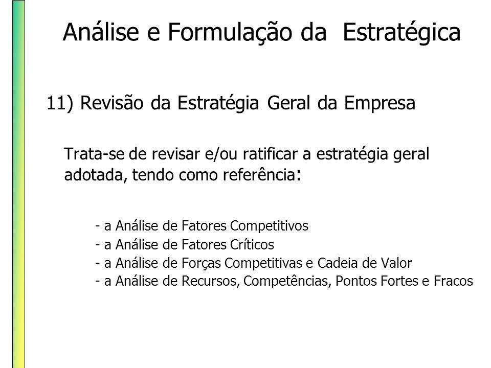 11) Revisão da Estratégia Geral da Empresa Trata-se de revisar e/ou ratificar a estratégia geral adotada, tendo como referência : - a Análise de Fator