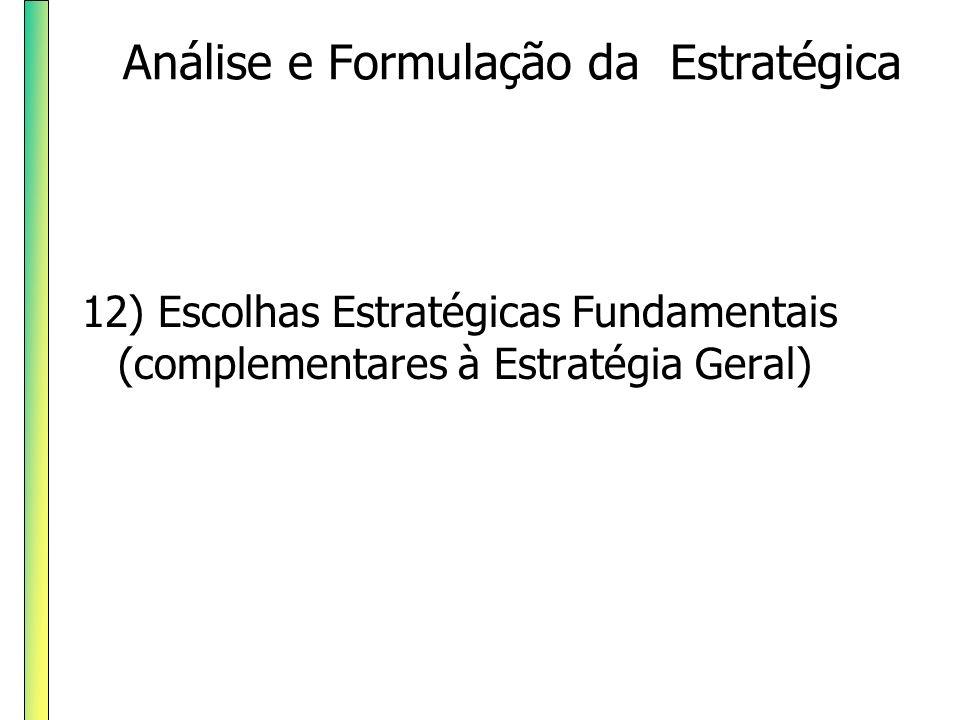 12) Escolhas Estratégicas Fundamentais (complementares à Estratégia Geral) Análise e Formulação da Estratégica