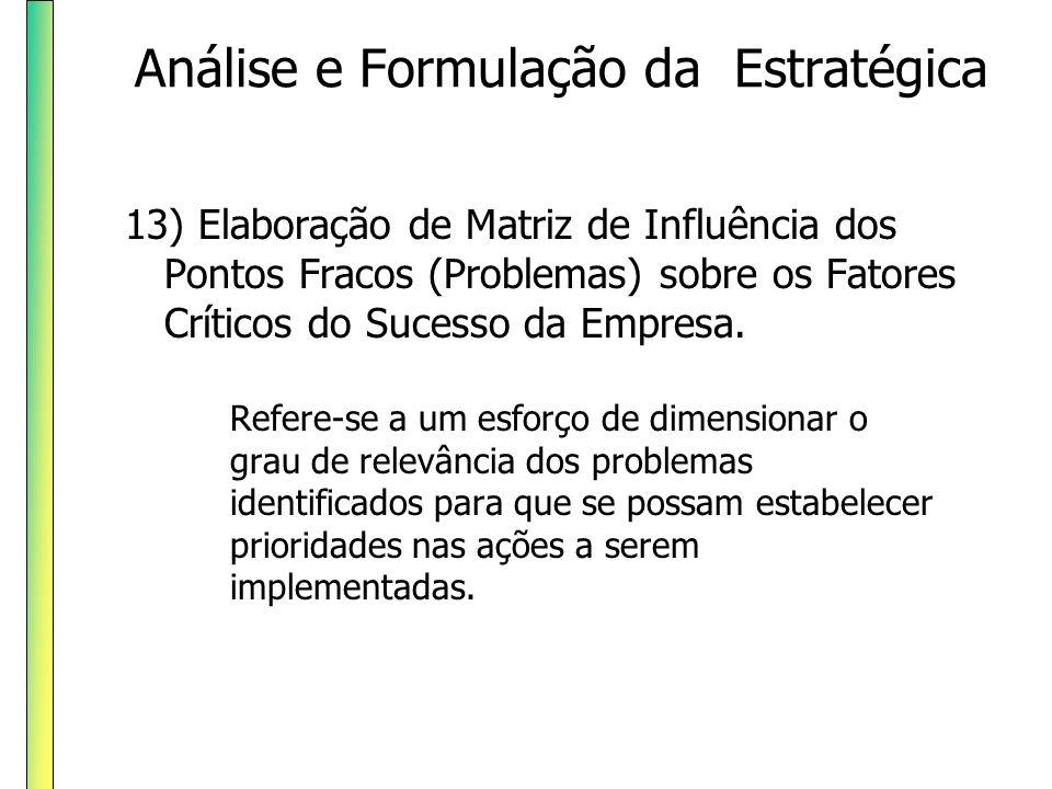 13) Elaboração de Matriz de Influência dos Pontos Fracos (Problemas) sobre os Fatores Críticos do Sucesso da Empresa. Refere-se a um esforço de dimens
