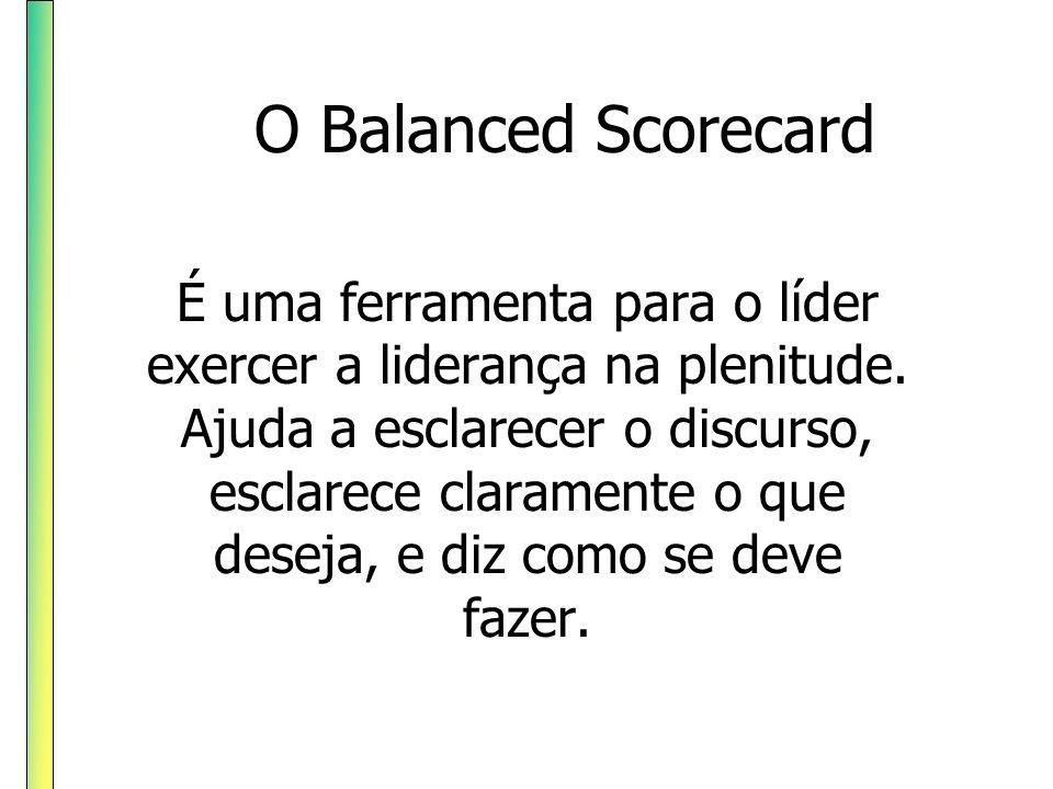 O Balanced Scorecard É uma ferramenta para o líder exercer a liderança na plenitude. Ajuda a esclarecer o discurso, esclarece claramente o que deseja,
