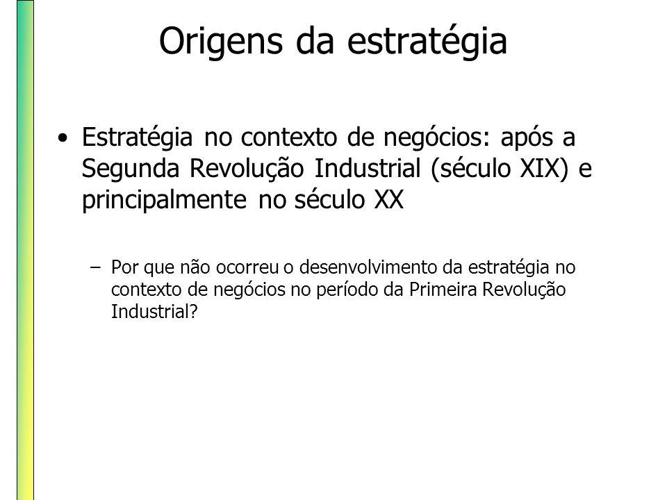 Origens da estratégia Estratégia no contexto de negócios: após a Segunda Revolução Industrial (século XIX) e principalmente no século XX –Por que não