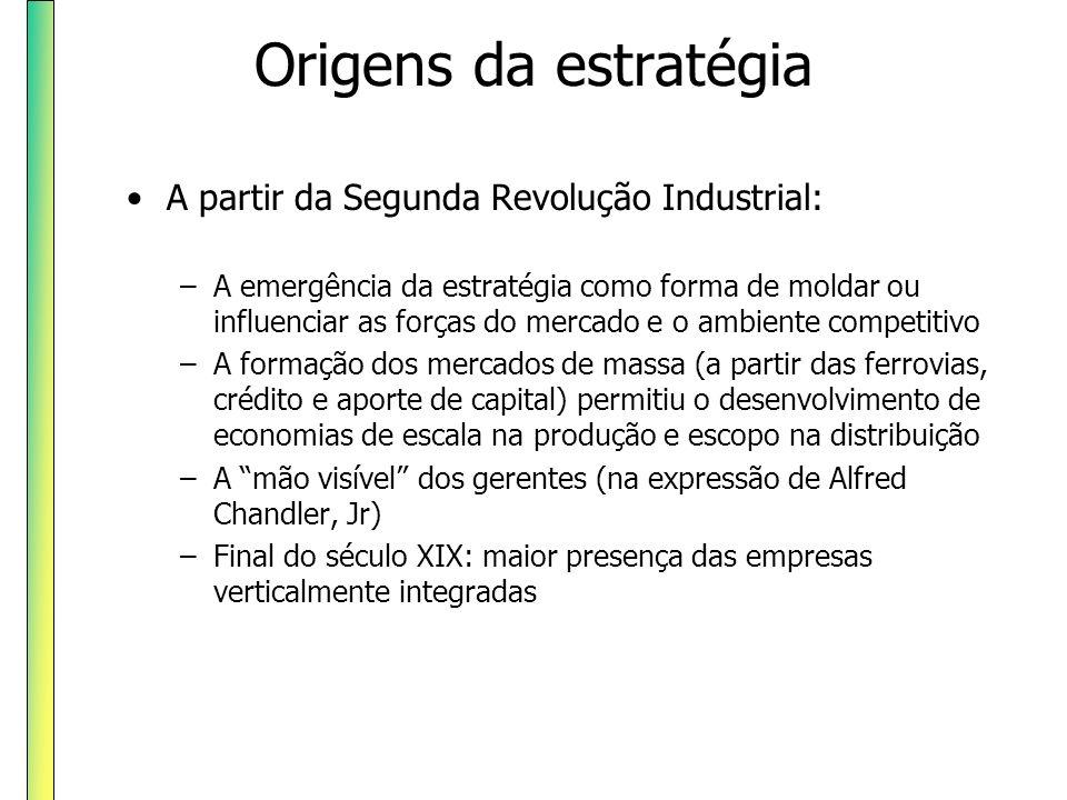 Origens da estratégia A partir da Segunda Revolução Industrial: –A emergência da estratégia como forma de moldar ou influenciar as forças do mercado e