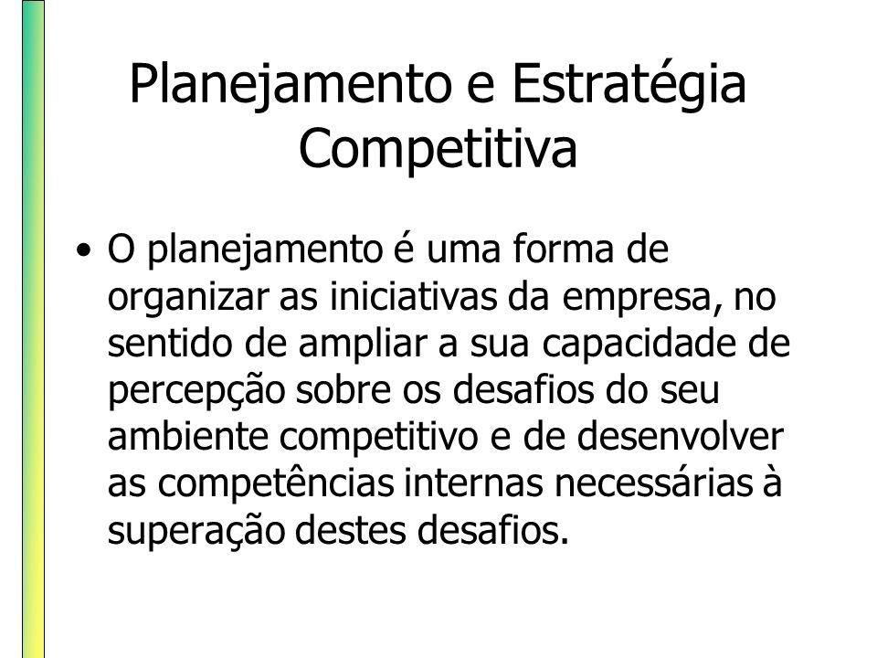 Planejamento e Estratégia Competitiva O planejamento é uma forma de organizar as iniciativas da empresa, no sentido de ampliar a sua capacidade de per