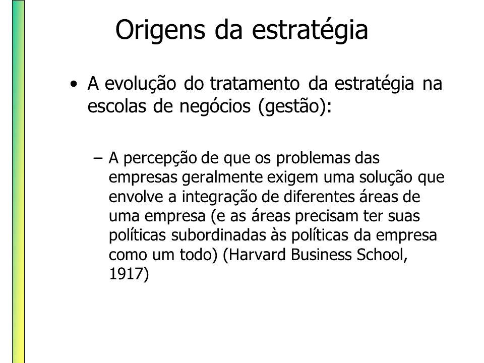 Origens da estratégia A evolução do tratamento da estratégia na escolas de negócios (gestão): –A percepção de que os problemas das empresas geralmente