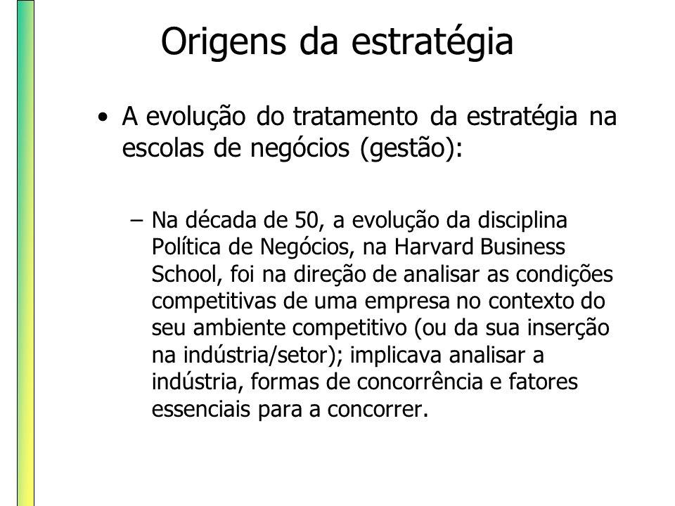 Origens da estratégia A evolução do tratamento da estratégia na escolas de negócios (gestão): –Na década de 50, a evolução da disciplina Política de N