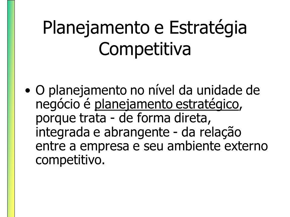 Planejamento e Estratégia Competitiva O planejamento no nível da unidade de negócio é planejamento estratégico, porque trata - de forma direta, integr