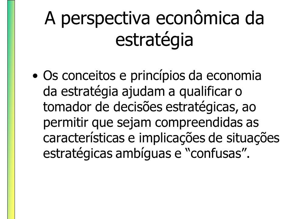 A perspectiva econômica da estratégia Os conceitos e princípios da economia da estratégia ajudam a qualificar o tomador de decisões estratégicas, ao p